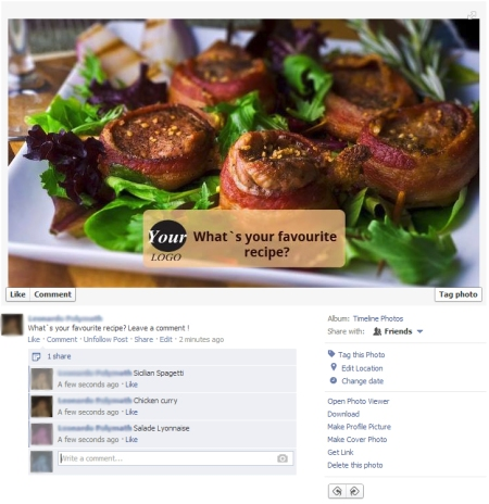 Market using Facebook for Restaurants - post recipes from users